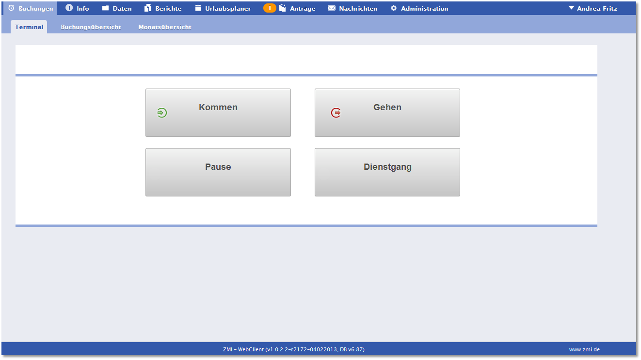 Screenshot der ZMI - Software